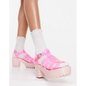 Koi Footwear Sii chunky heel sandals in pink vinyl for Young Women Hot Sale RPTY864