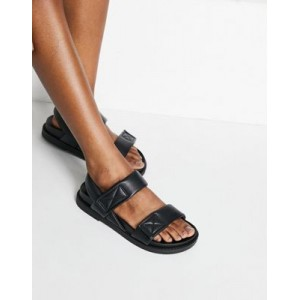 Monki Bebe faux leather dad sandals in black Large Size for Women Number 1 Selling KMAD203