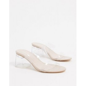 Public Desire Aries mules with clear detail in beige Shop NUSO700
