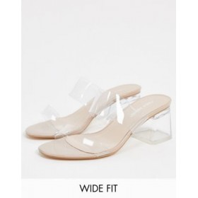 Public Desire Aries Wide Fit mule with clear details in beige For Walking IZHD580