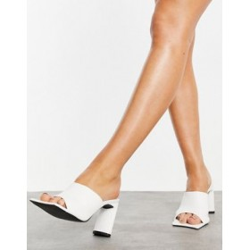 Public Desire Vice heeled mules with statement toe in white for Women Ships Free YMBV176