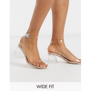 Public Desire Wide Fit Afternoon clear block heeled sandal in beige patent for sale near me DRTR718