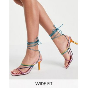 Public Desire Wide Fit Cabo ankle tie sandals in rainbow For Walking Express OEGE573
