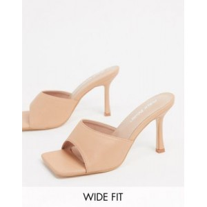 Public Desire Wide Fit Harlow mule with square toe in beige for Women XOVF392
