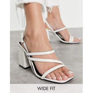 RAID Wide Fit Catherine block heeled sandals in white for Young Women Number 1 Selling GXRL528