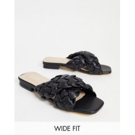 RAID Wide Fit Destiny braided slide sandals in black Comfortable Walking for Young Women JIFM145