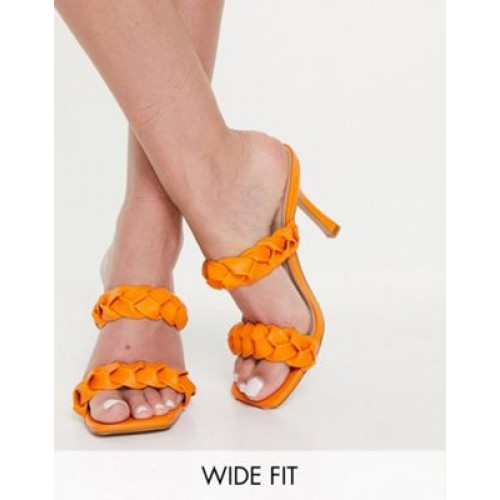 RAID Wide Fit Gemma plaited heeled mules in orange For Narrow Feet for Young Women New IUZR444