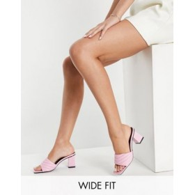 RAID Wide Fit Longley padded heeled mules in pink for Women ZNXH541
