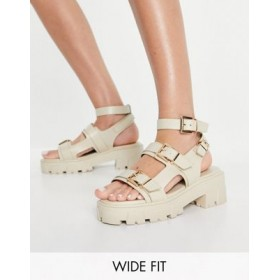 RAID Wide Fit Prestone chunky heeled sandals in stone drench Size 9 for Young Women most comfortable PSHX388