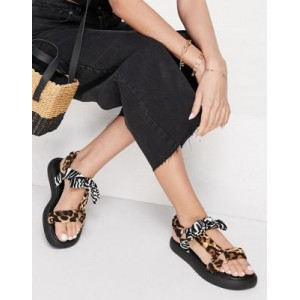 River Island leopard bow strap sporty sandal in black comfortable QWXG925