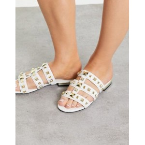 River Island studded caged flat sandal in white Size 9 e fashion GUED135