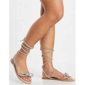 Simmi London Aella jeweled bow ankle tie flat sandals in beige In Narrow Width for Young Women On Sale XNKE968