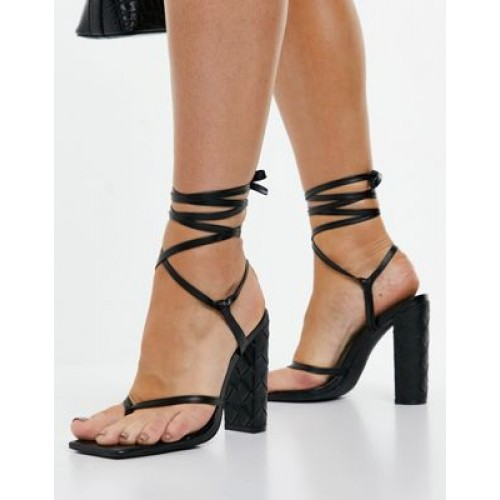 Simmi London Heera woven block heel sandals in black for Young Women on clearance MALF624