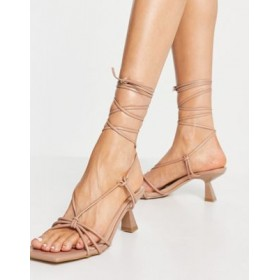 Simmi London Paola ankle tie heeled sandals in beige Comfortable Walking for Women Recommendations ZEFO950