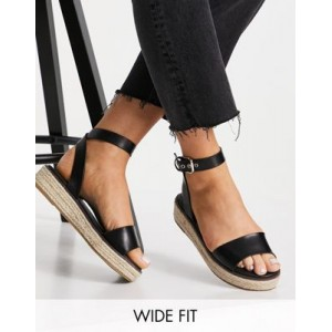 Simply Be wide fit flat espadrille with tie detail in black Big Size for Women stores UQIO748