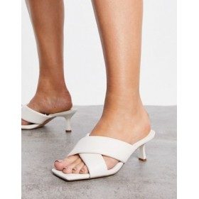 Stradivarius cross strap heeled mules in white Casual for Young Women Shop DNSP640