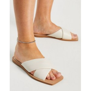 Stradivarius cross strap sandal in cream for Young Women Ships Free PAQY322
