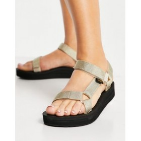 Teva Midform Universal chunky sandals in metallic champagne Size 11 for Women New Style GTME369