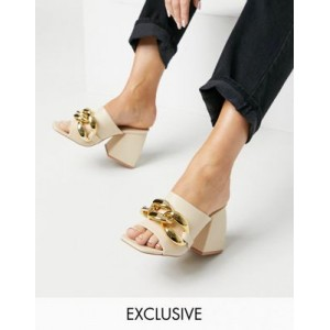 Z_Code_Z Exclusive Bonny mules with chunky chain in bone Narrow outlet QRDS367