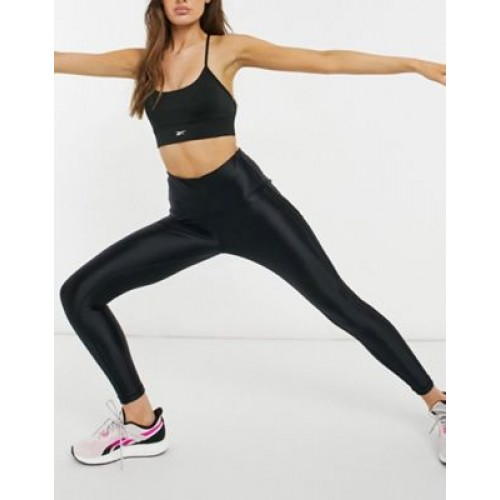 Reebok Training high shine high waisted panelled leggings in black Sports Direct for Women outfits NROO521