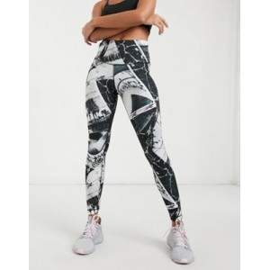 Reebok Training printed leggings in black and white Sports Direct for Women In Sale GHXK446