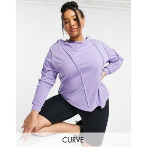 4505 Curve long sleeve t-shirt with cutabout seams in purple Big W spring 2021 PMGU292