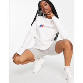 Berghaus Logo long sleeve top in white Companies Top Sale JLLW943