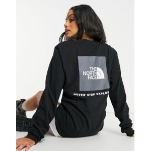 The North Face Box NSE long sleeve back print T-shirt in black Big W for Women TVMW640