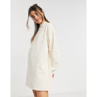 Bershka high neck sweat dress in cream Going Out for Women New Style AEZZ834