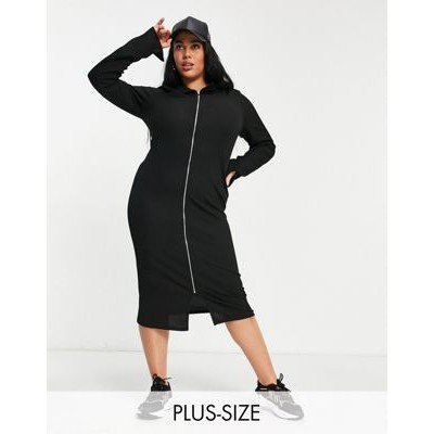 COLLUSION Plus long sleeve midi zip front dress in black For Sale PYND874