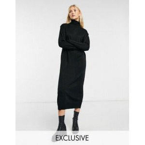 COLLUSION roll neck sweater dress in black sale online XTEF551