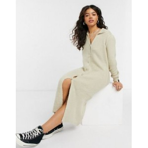 DESIGN knitted dress with collar detail and button up front Formal for Women's Design GHQU287