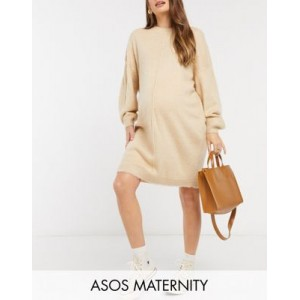 DESIGN Maternity knitted dress with brushed yarn in oatmeal for Young Women KJVC621