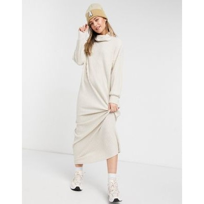 DESIGN maxi long sleeve ribbed dress with roll neck in cream Going Out Designer HBTF893
