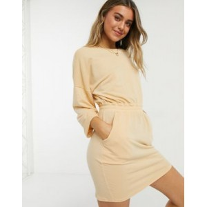 DESIGN mini sweatshirt dress with waist band and rolled sleeve in buttermilk Business Casual for Women Clearance HTPM139