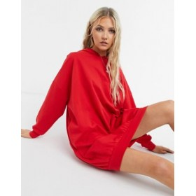 DESIGN oversized hoodie sweat dress in bright red Formal for Women In Store UHIN325