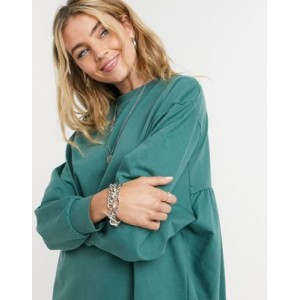 DESIGN oversized smock back sweat dress in green Business Casual GFQP981