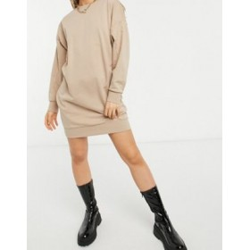 DESIGN seam detail sweat dress in taupe Business Casual In Store BUHQ358