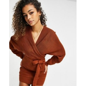 Fashionkilla knitted off shoulder tie detail mini dress in chocolate for Women Selling Well RJHI194