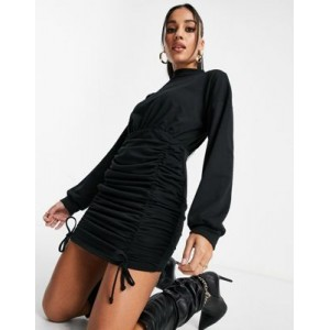 I Saw It First ruched body-conscious high neck sweater dress in black Going Out 2021 New OFPE224