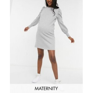 Mamalicious Maternity sweatshirt dress with puff sleeves in gray Business Casual for Women's New KJWA304