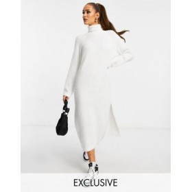 Missguided knitted roll neck midaxi dress in white Formal for Young Women LWAE164