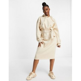 Missguided oversized midi sweatshirt dress with hood in sand Going Out Trends HZBX753