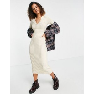Monki Jacqueline midi dress with collar detail in beige Formal high quality EYVD177