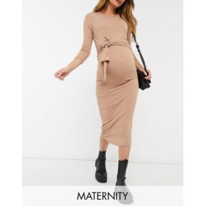 New Look Maternity 3/4 sleeve ribbed tie front midi dress in camel Going Out New Style GGVO772