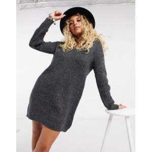 Only sweater dress with v neck in gray for Young Women 2021 New ASTA626