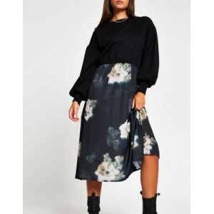 River Island floral midi dress with sweater overlay in black for Women New Style TOSY872