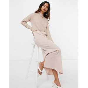 River Island hybrid satin slip midi dress with sweater overlay in pink for Women The Top Selling PFUA258