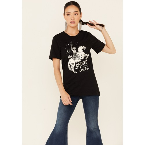 Ali Dee Women's Shoot For The Stars Graphic Short Sleeve Tee Quality - Short Sleeve Shirts 5G8RR3610