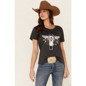 Ariat Women's Charcoal Steer West Graphic Tee Made In Usa - Short Sleeve Shirts B2CMC4051